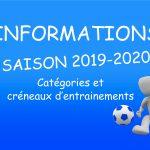 SAISON 2019-2020: CATEGORIES ET CRENEAUX D'ENTRAINEMENTS